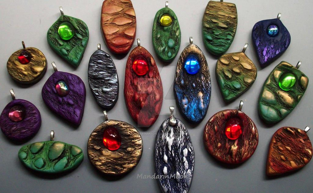 Polymer Clay Pendants by MandarinMoon