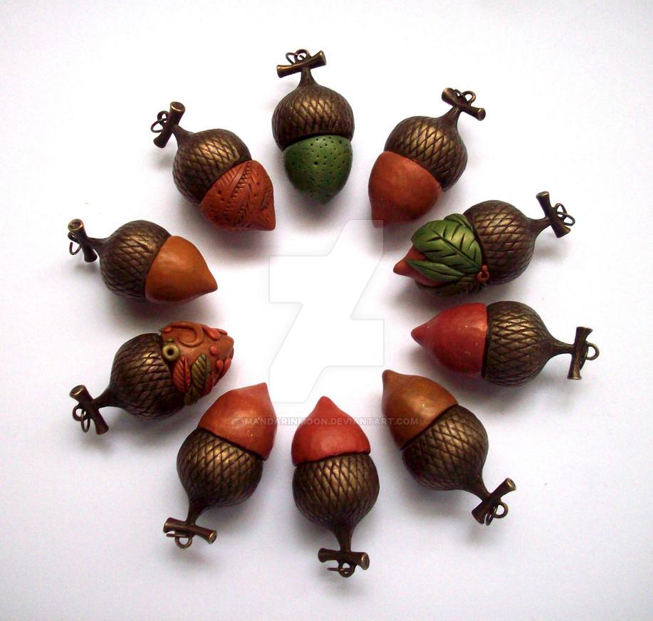 Acorn Pendants by MandarinMoon