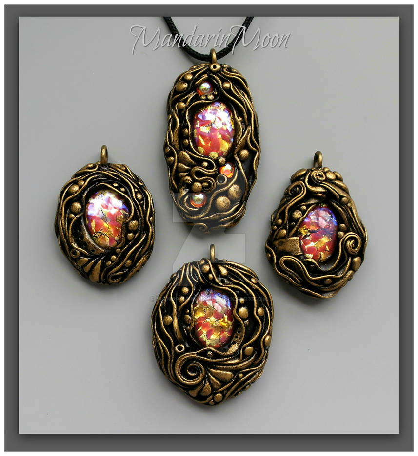 Poseidon's Treasure Polymer Clay Pendants
