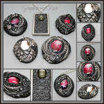 Graphite and Rose Polymer Clay Pendants
