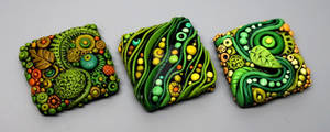 Tiny Textured Tiles created with Polymer Clay