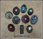 Pendants July 2016 Polymer Clay and Vintage Gems