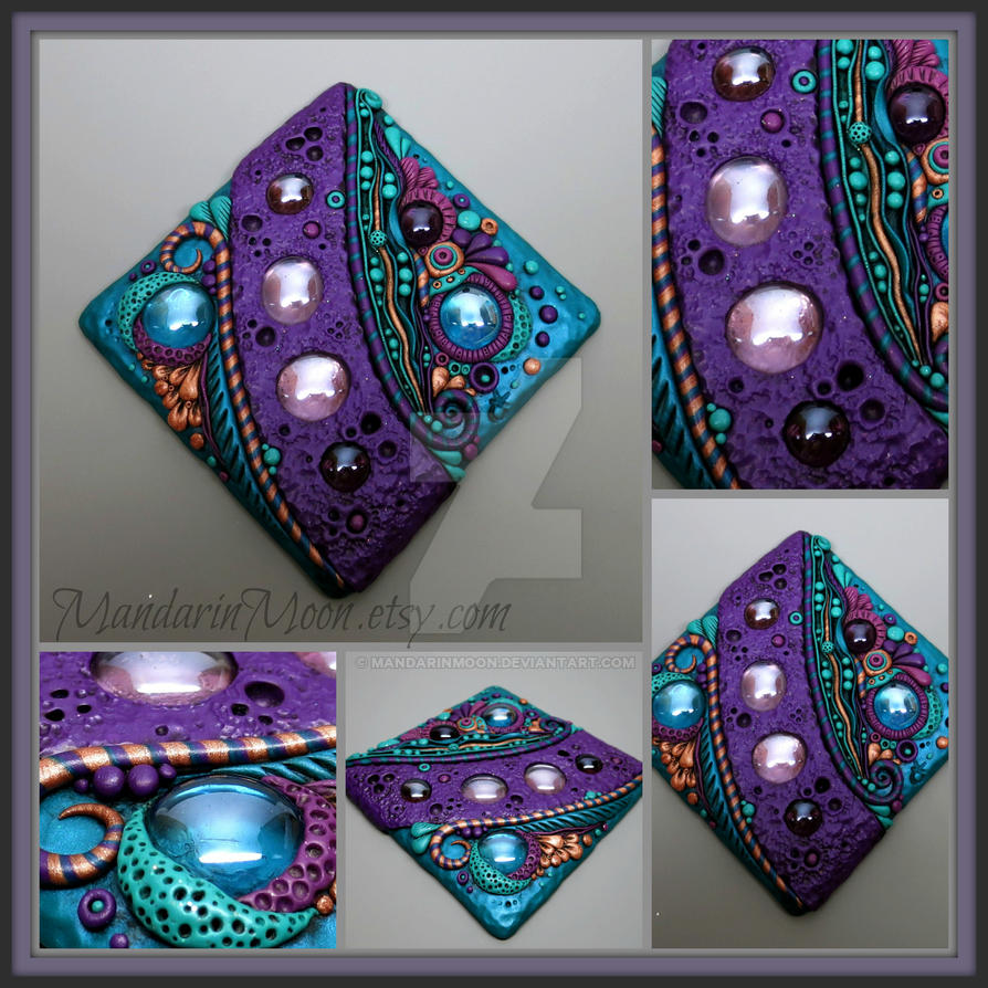 Purple and Teal Polymer Clay Tile by MandarinMoon