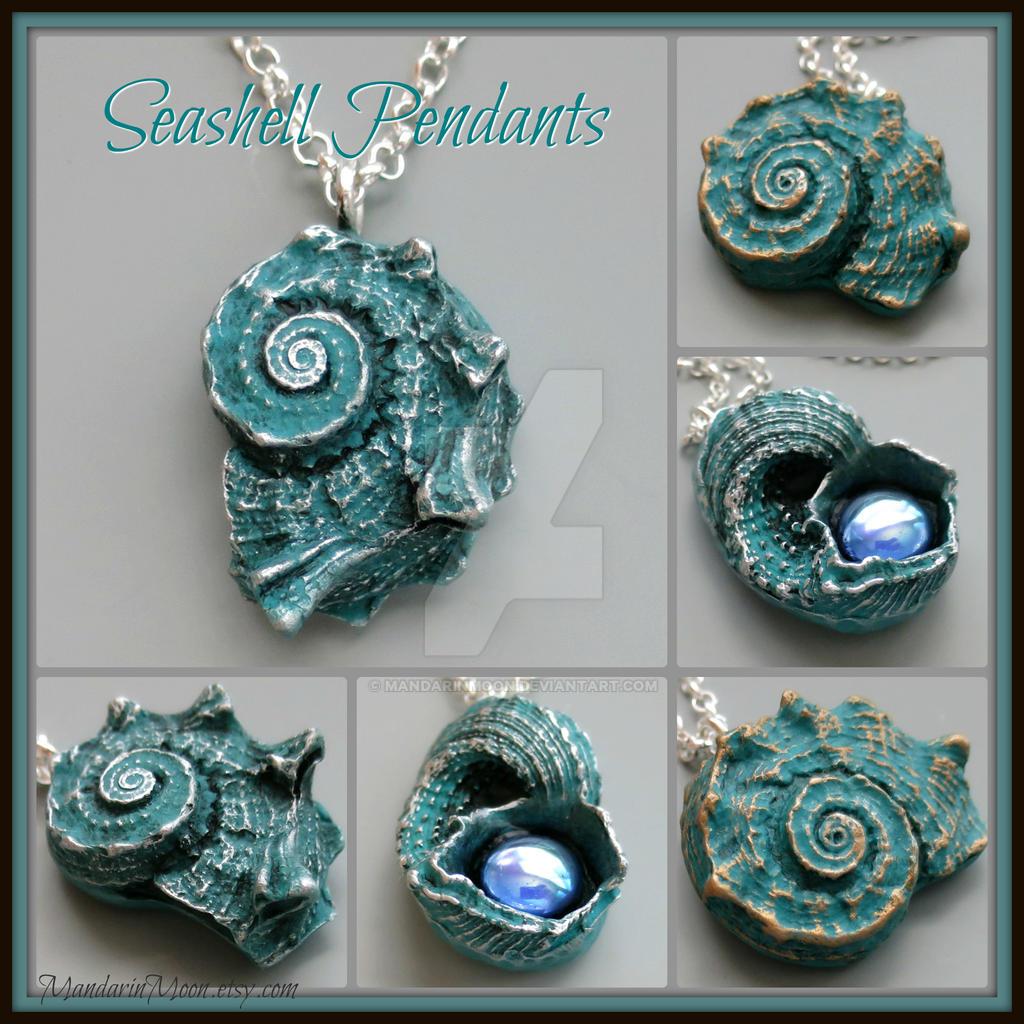 Aqua Blue Seashell Pendants by MandarinMoon