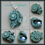 Aqua Blue Seashell Pendants