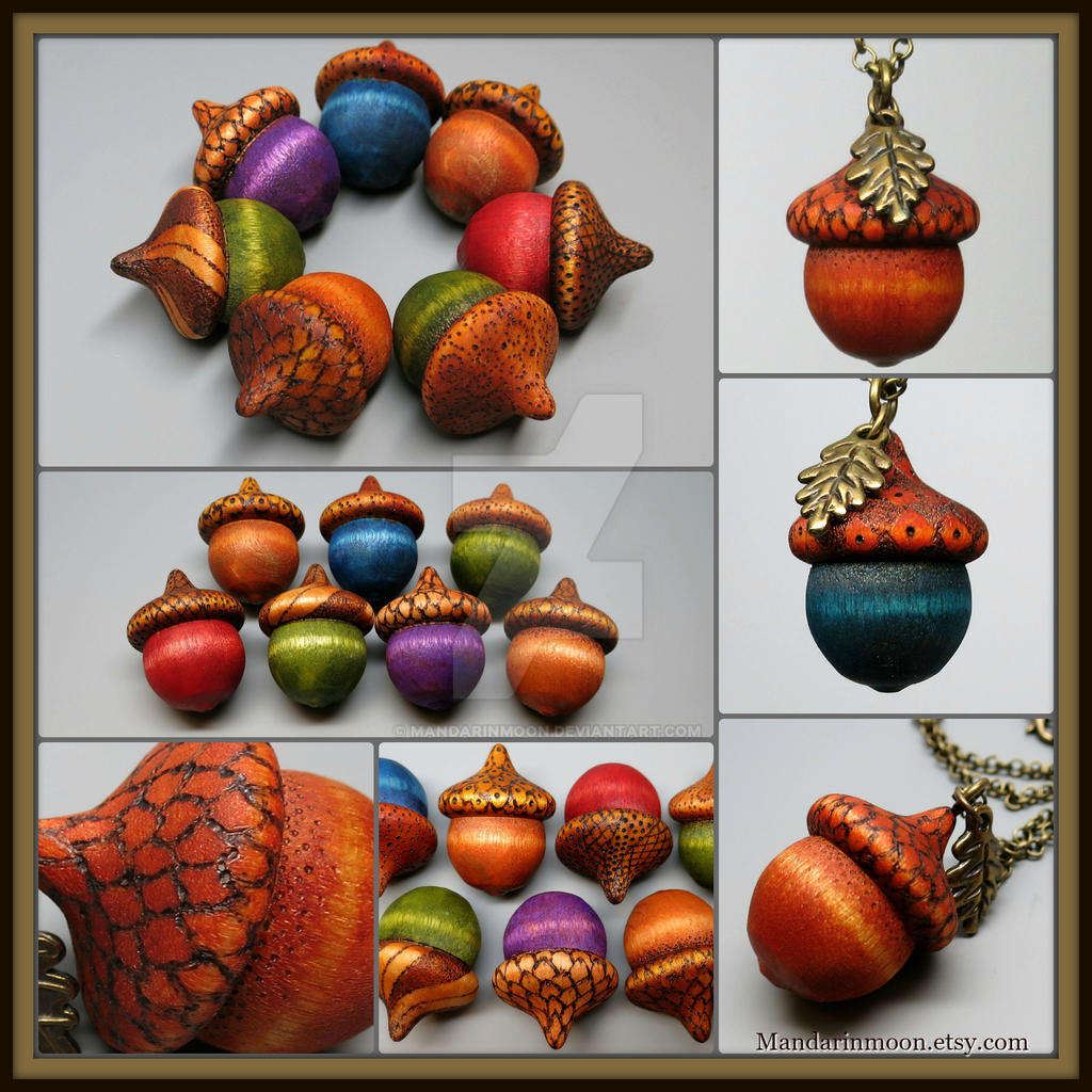 Autumn Acorn Pendants by MandarinMoon