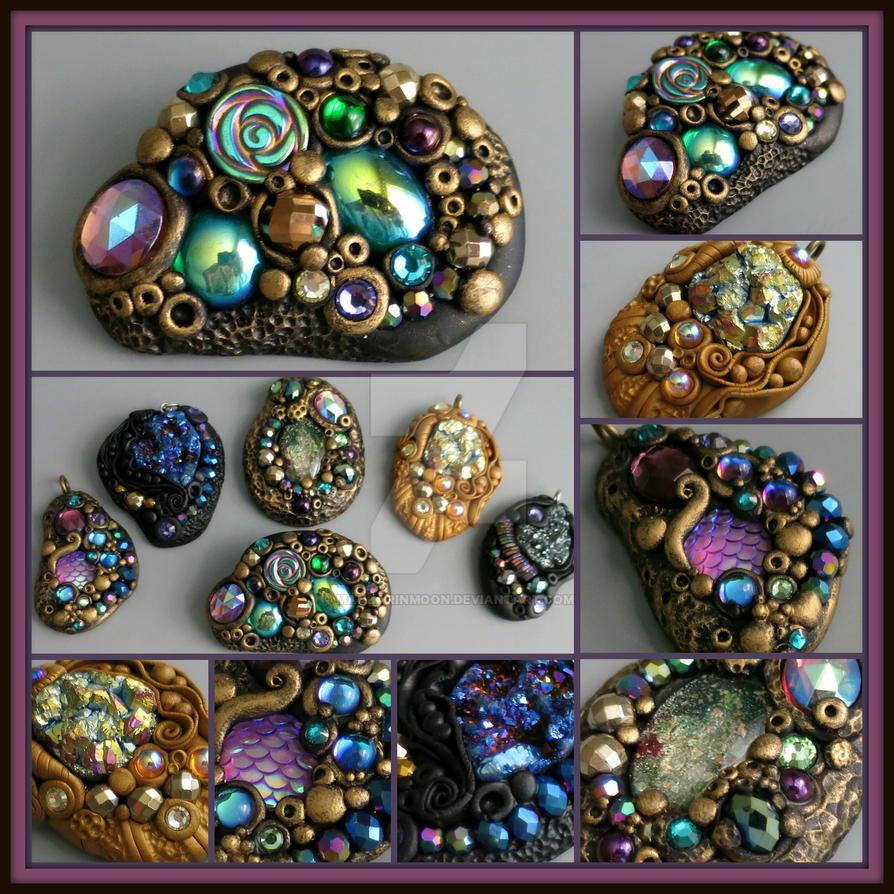 Jewel Encrusted Polymer Clay Pendants by MandarinMoon