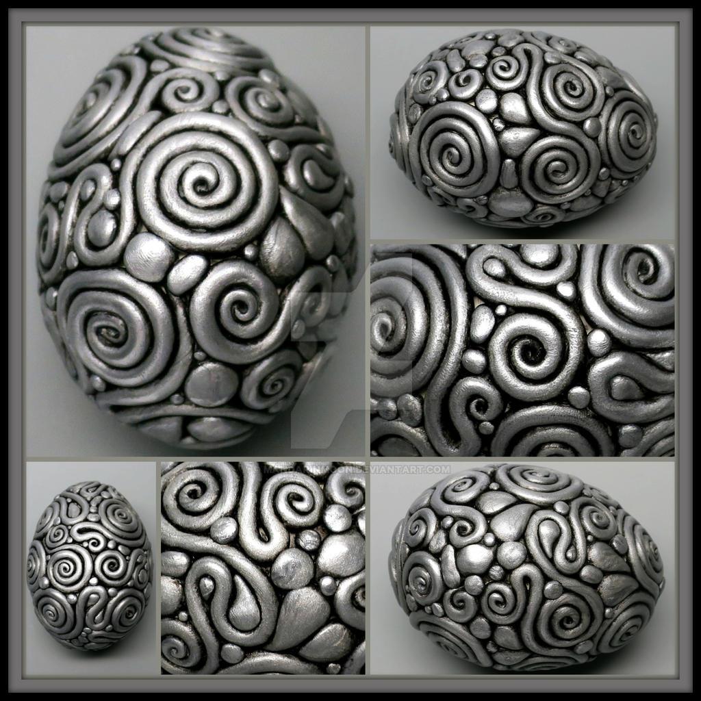 Silver filigree egg