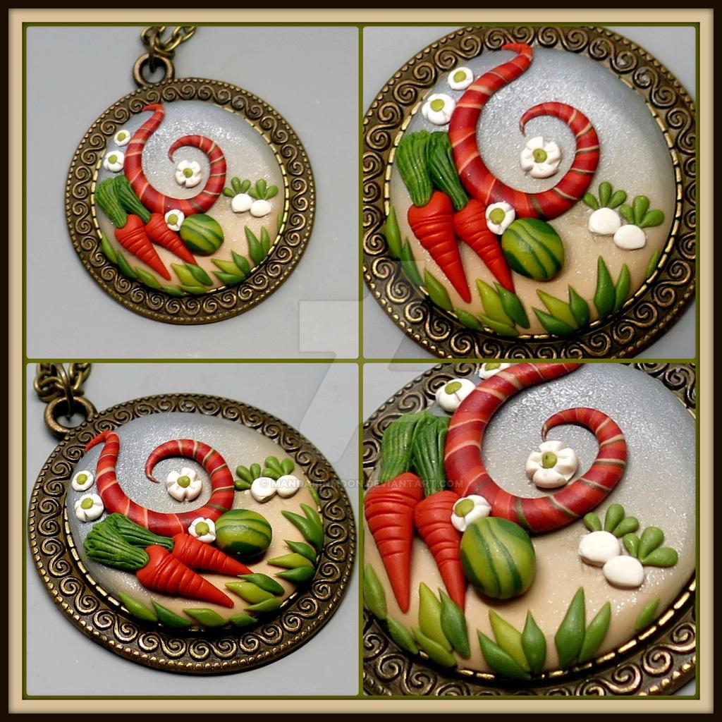 Polymer Clay Pendant Harvest Moon Story of Seasons by MandarinMoon