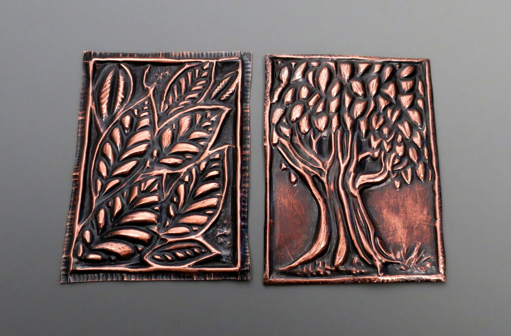 Copper Embossed ACEO Trees and Leaves