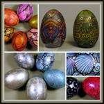 Painted Eggs, Wooden and Real Eggs