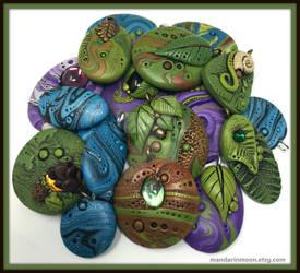Fimo Clay Turtle Button Blue Moon Button Art
