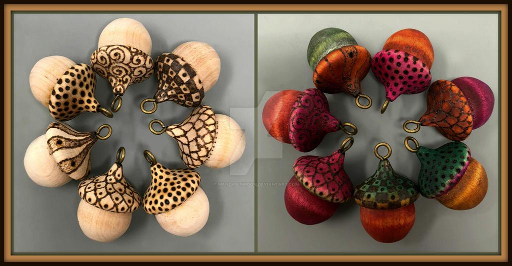 Wooden Acorn Pendants by MandarinMoon