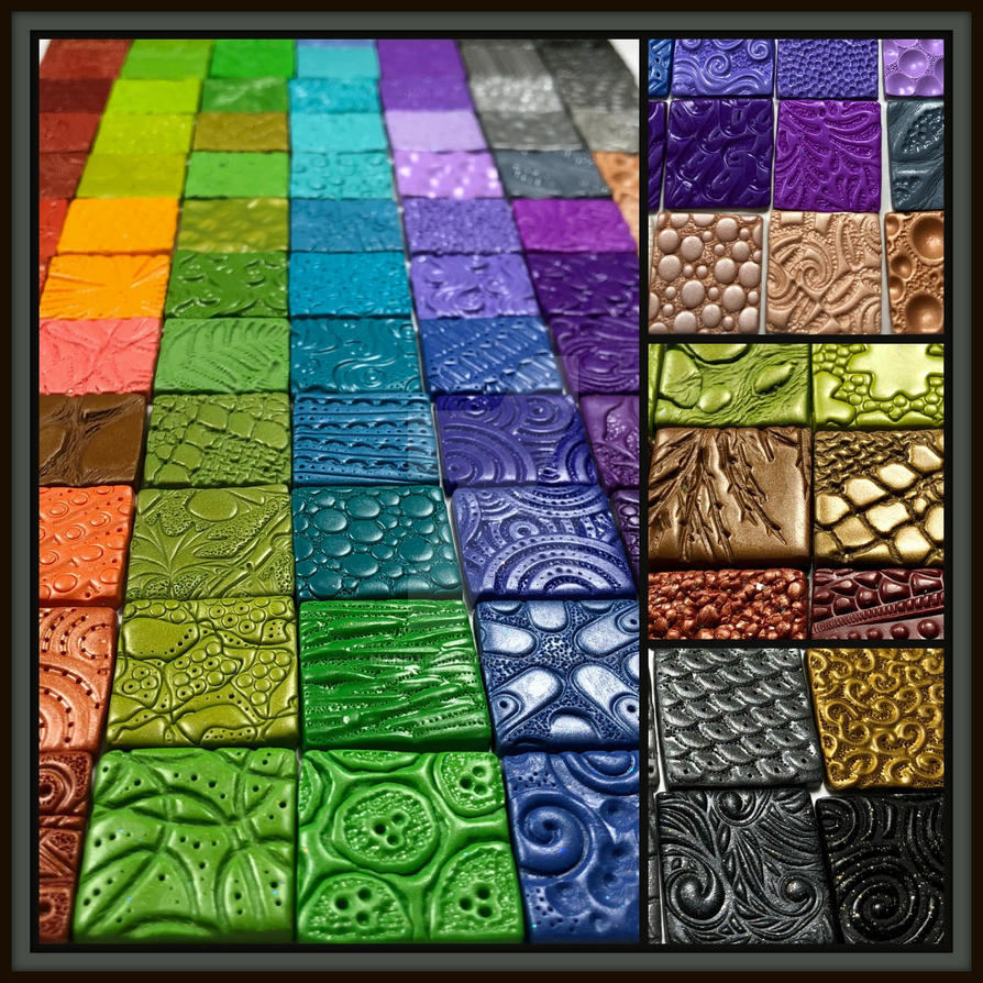 Polymer Clay Inchie Tile Texture Ideas by MandarinMoon