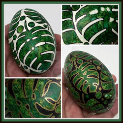 Hand Painted Goose Eggs, Monstera Leaves