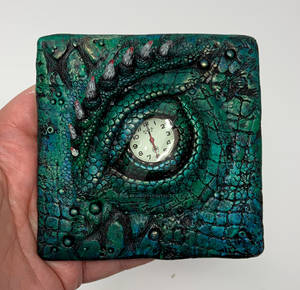 Dragon Eye Tile, Polymer Clay on Glass