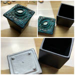 Dragon Eye Pot, Polymer Clay and Apoxie Sculpt