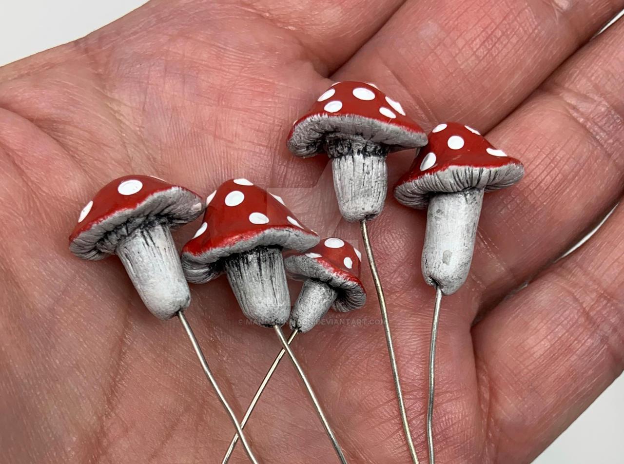 Tiny Mushrooms on Headpins