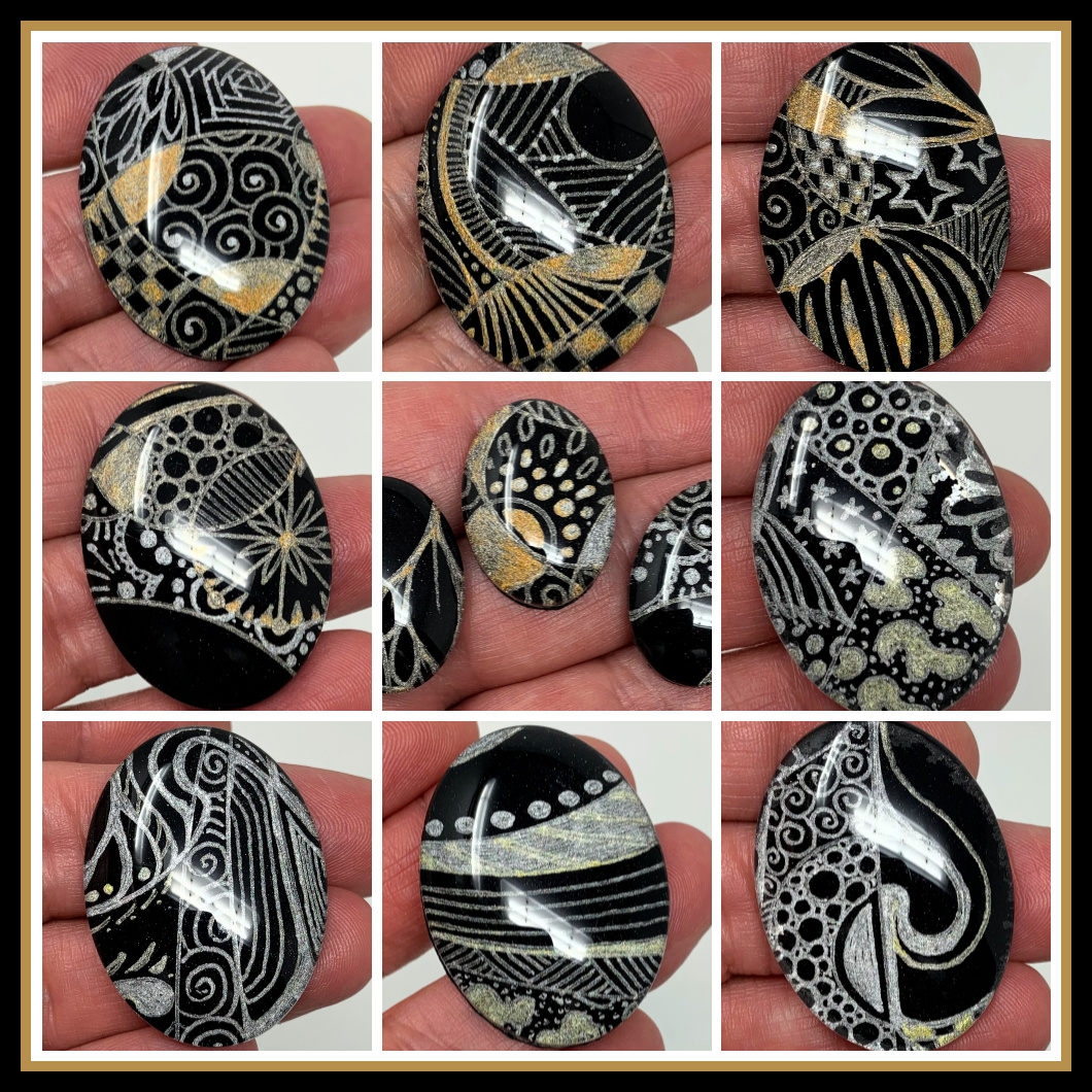 Zentangle Glass Cabochons