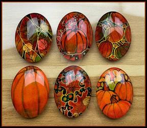 Pumpkins and Fall Leaf Cabochons