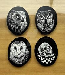 Owl Scratchboard Art for Cabochons