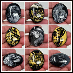 Black White and Gold Hand Painted Glass Cabs
