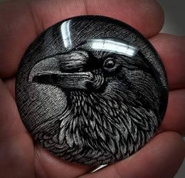 Raven Paperweight, Scratchboard Art