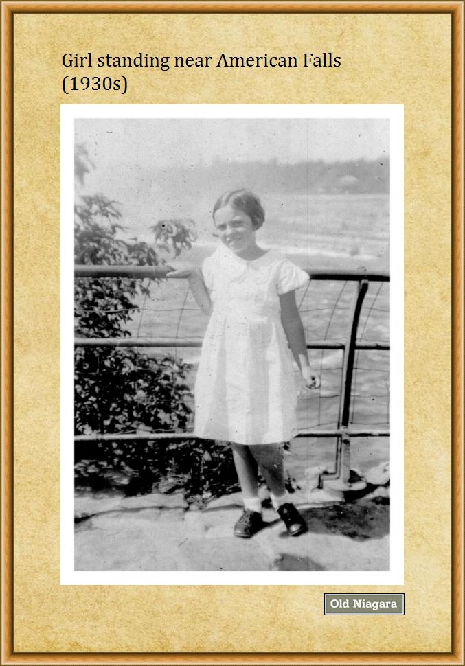 Girl standing near American Falls (1930s) by Niagara14301