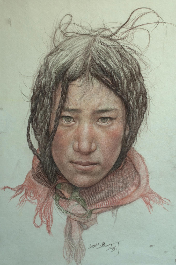 Portrait of Tibetan Teenager by william690c