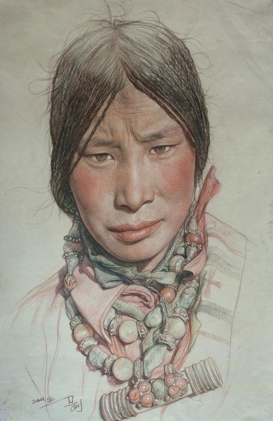 Portrait of Tibetan girl