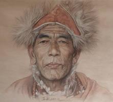Portrait of tibetan sorcerer