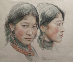 Portrait of twin girls in Tibet