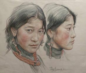 Portrait of twin girls in Tibet