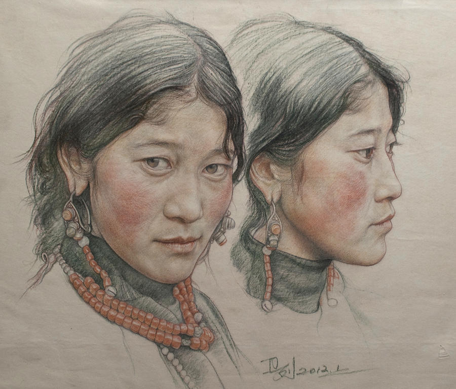 Portrait of twin girls in Tibet by william690c