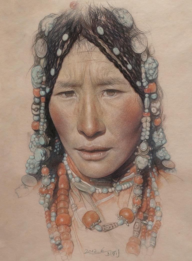 Portrait of the Tibetan girl wearing a headdress by william690c