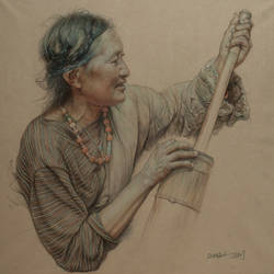 Portrait of Tibetan woman making cheese 2