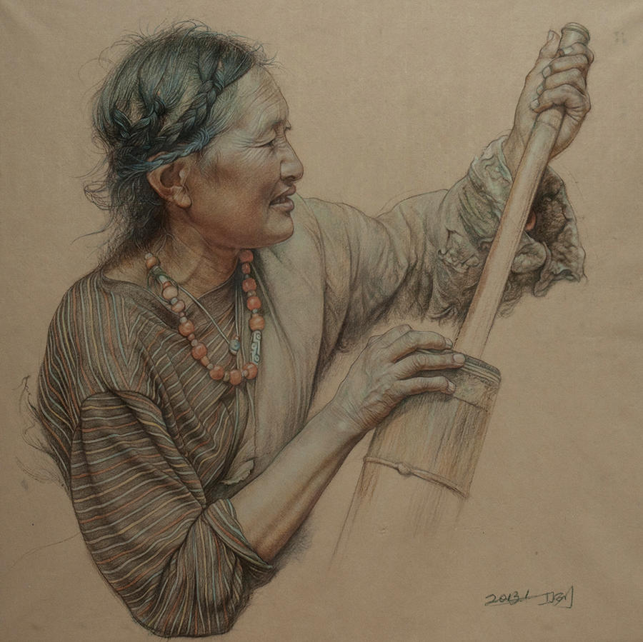Portrait of Tibetan woman making cheese 2 by william690c