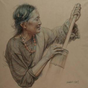Portrait of Tibetan woman making cheese 2