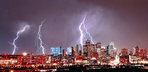 Denver Skyline Lightning