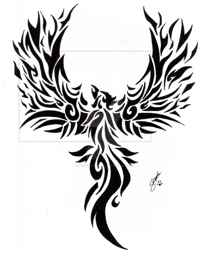 tribal phoenix tattoo by troublestripe on deviantart. Black Bedroom Furniture Sets. Home Design Ideas