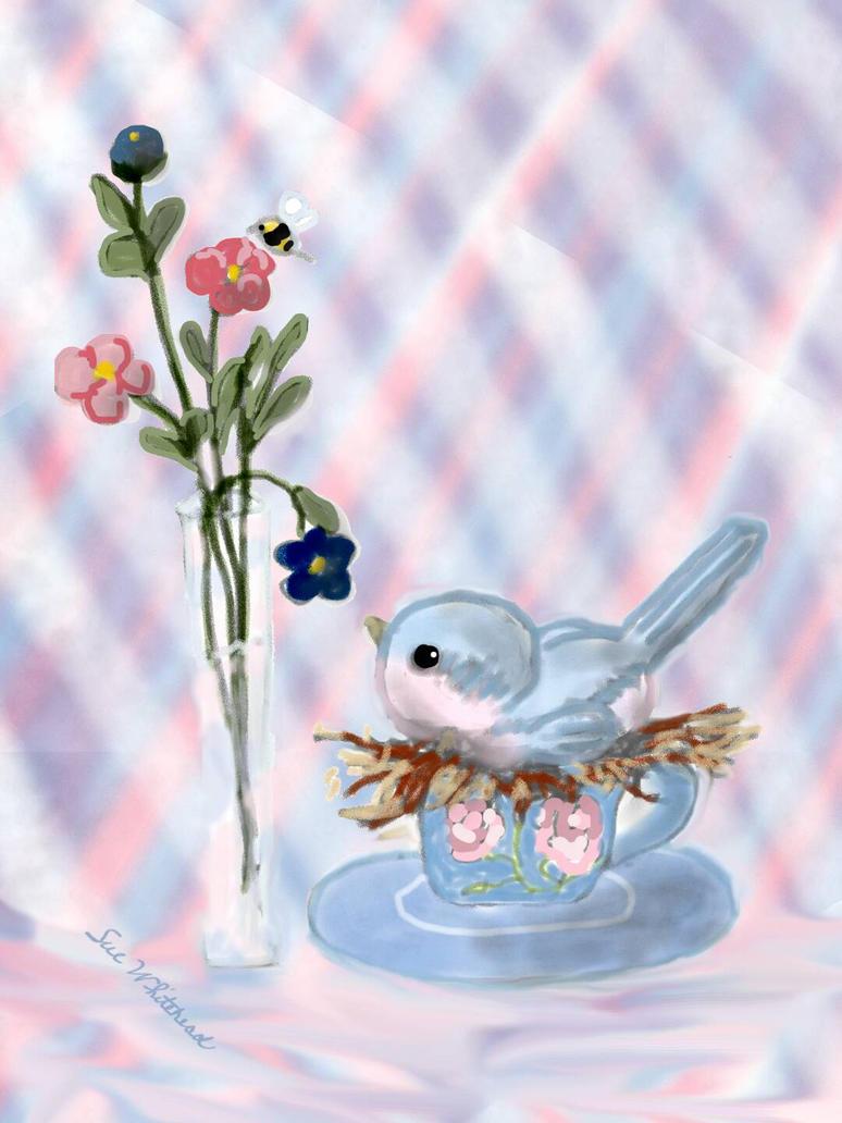 little bird in a teacup by Sue2BlueEyes