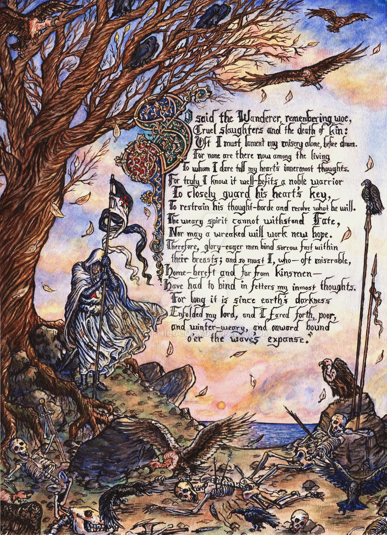 the wanderer The wanderer is an old english poem preserved only in an anthology known as the exeter book, a manuscript dating from the late 10th centuryit counts 115 lines of alliterative verse.