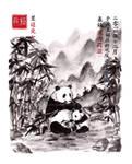 Pandas - Chinese Ink Painting