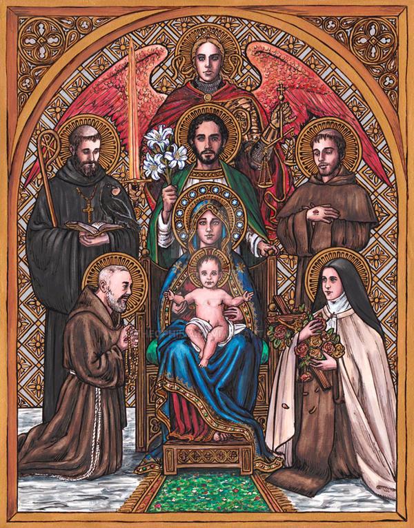 Patron Saints Family Icon by Theophilia