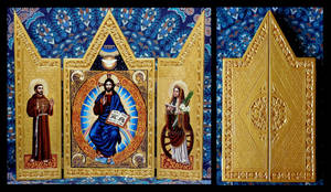 Christ Pantocrator with Saints Triptych