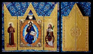 Christ Pantocrator with Saints Triptych