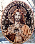 Sacred Heart Pyrography VI