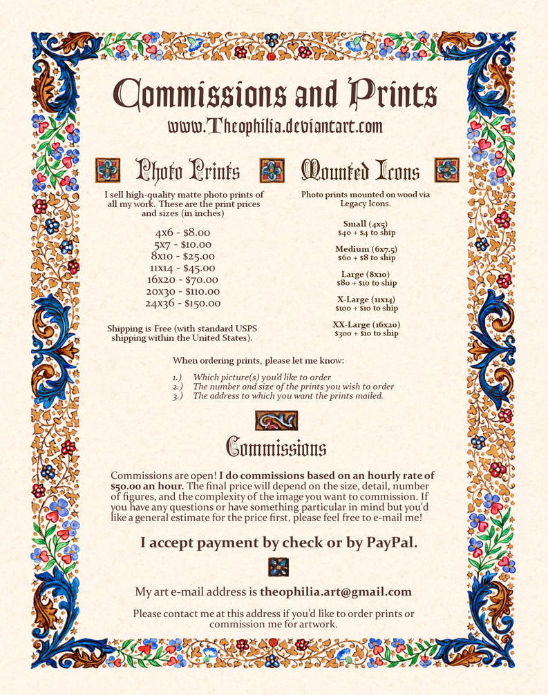 Theophilia's Commissions and Prints