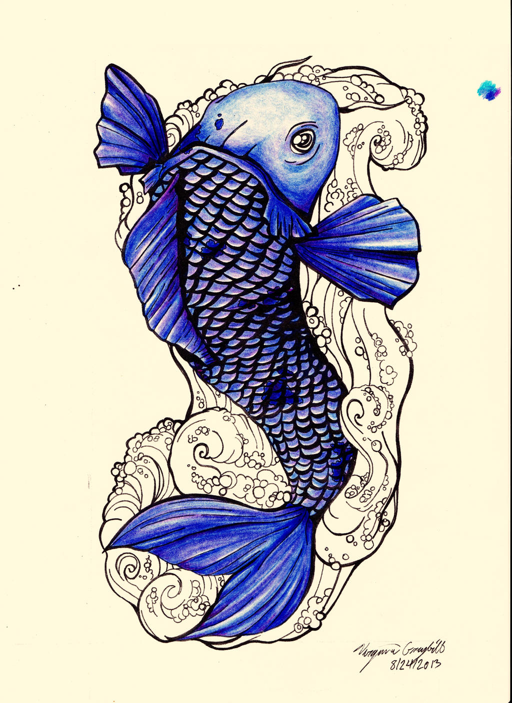 Koi tattoo concept colored with white background by for Blue japanese koi fish