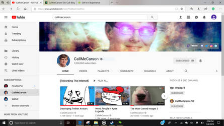 1 million subs epic victory for carson